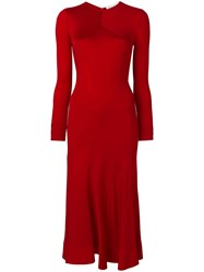 Esteban Cortazar Longsleeved Full Circle Dress Red