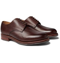 Grenson Curt Hand Painted Full Grain Leather Derby Shoes Brown