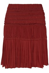 Isabel Marant Alma Ruched And Pleated Crepe Mini Skirt Red