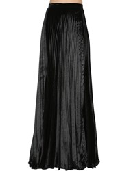 Saint Laurent Plisse Velvet Long Skirt Black