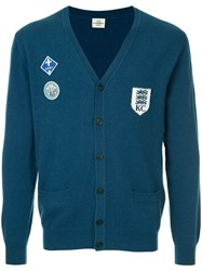 Kent And Curwen V Neck Cardigan Blue