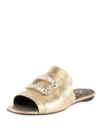 Roger Vivier Strass Buckle Metallic Canvas Slide Sandal Gold