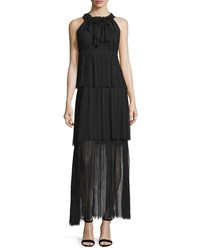 Elie Tahari Alicia Sleeveless Tiered Maxi Dress Black Size Small