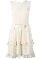 Red Valentino Layered Lace Hem Dress Nude And Neutrals