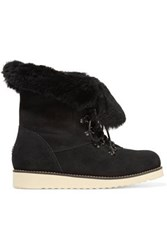 Australia Luxe Collective Yael Shearling Lined Suede Boots Black