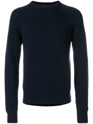 Cedric Charlier Classic Knitted Sweater Virgin Wool Blue