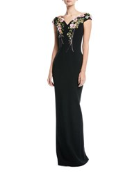 Pamella Roland Bateau Neck Stretch Crepe Evening Gown With Crystal Floral Embroidery Black