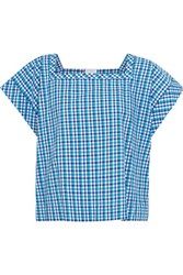 Stella Jean Gingham Cotton Top Light Blue