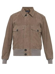 Thom Sweeney Perforated Suede Bomber Jacket Grey