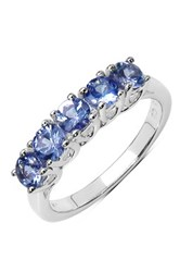 Olivia Leone Sterling Silver Round Tanzanite Five Stone Ring Blue
