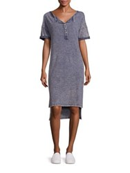 Stateside Mineral Washed Striped Cotton T Shirt Dress Indigo
