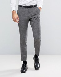 Burton Menswear Slim Suit Trouser In Tweed Charcoal Grey