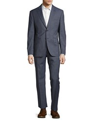 Hardy Amies Two Piece Checked Suit Jacket And Pants Set Gingham Blue
