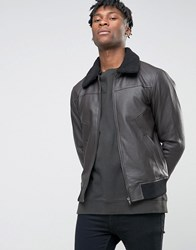 Bl7ck Leather Look Jacket With Faux Fur Collar Black