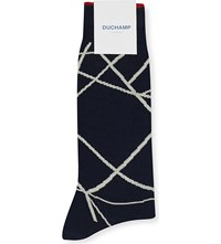Duchamp Abstract Graphic Cotton Blend Socks Navy