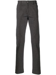 Canali Checked Trousers Cotton Calf Leather Polyester Spandex Elastane Brown