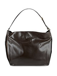 Stella Mccartney Solid Leather Hobo Bag Black