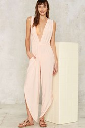 Hot As Hell Michele Hah Bell Plunging Jumpsuit Pink