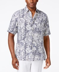 Tasso Elba Men's Big And Tall Silk Linen Leaf Print Short Sleeve Shirt Classic Fit Blue Combo