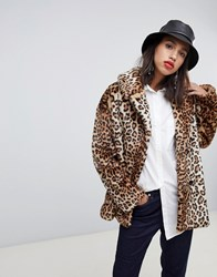 Stradivarius Leopard Double Breasted Faux Fur Coat Multi