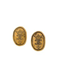 Chanel Vintage Etched Clip On Earrings Metallic