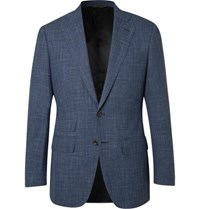 Thom Sweeney Blue Slim Fit Checked Wool Silk And Linen Blend Suit Jacket Blue