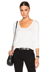 T By Alexander Wang Long Sleeve Low Neck Tee In White