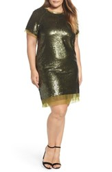 Elvi Plus Size Women's Sequin Mini Dress Green