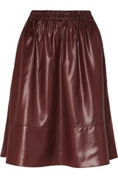 Tibi Faux Leather Skirt Burgundy