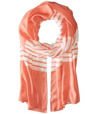 Michael Michael Kors Norwood Stripe Oblong Caribbean Pink White Scarves