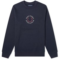 Fred Perry Embroidered Crew Sweat Blue