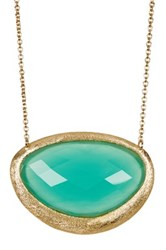 Rivka Friedman 18K Gold Clad Faceted Mint Chalcedony Crystal Pendant Necklace Blue
