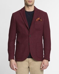 Scotch And Soda Burgundy Patch Pocket Wool Jacket