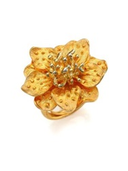 Kenneth Jay Lane Anemone Flower Ring Gold