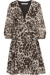 Diane Von Furstenberg Leopard Print Silk Chiffon Mini Dress Animal Print