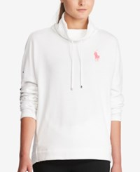 Polo Ralph Lauren Pink Pony Funnel Neck Hoodie White