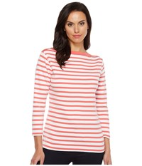 Pendleton Trimmed Stripe Tee Coral Pink White Stripe Women's T Shirt Coral Pink White Stripe