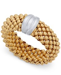 Macy's Two Tone Mesh Ring In Sterling Silver And 14K Gold Plated Sterling Silver