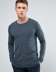 Selected Homme Longline Long Sleeve Tee Ombre Blue Navy