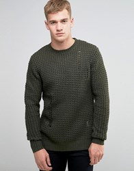 Religion Waffle Jumper With Ladder Detail Khaki Green