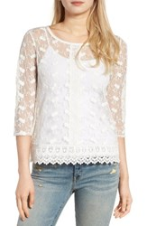 Hinge Women's Embroidered Mesh Top Ivory