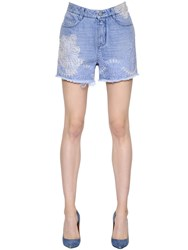 Ermanno Scervino Lace Embellished Cotton Denim Shorts