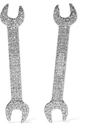 Moschino Silver Tone Crystal Earrings One Size
