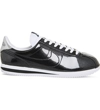 Nike Cortez Basic Metallic Leather Trainers Black White Silver