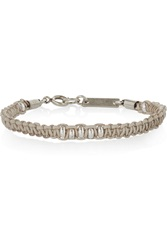 Isabel Marant Kutztown Braided Leather And Silver Tone Bracelet Gray