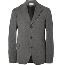 Oliver Spencer Grey Portland Herringbone Cotton And Lambswool Blend Blazer Gray
