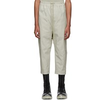 Rick Owens Off White Cropped Astaires Drawstring Trousers