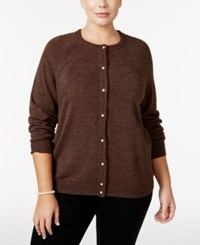 Karen Scott Plus Size Cardigan Only At Macy's Peppercorn Heather
