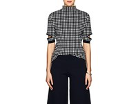 Nomia Gingham Cotton Blend Mock Turtleneck Top Navy