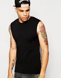 Asos Muscle Fit Sleeveless T Shirt With Stretch Black